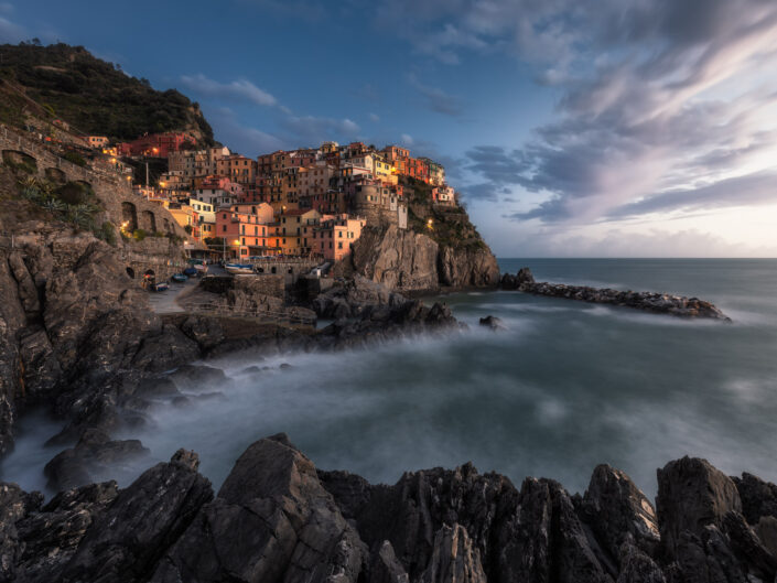 First Light of Manarola